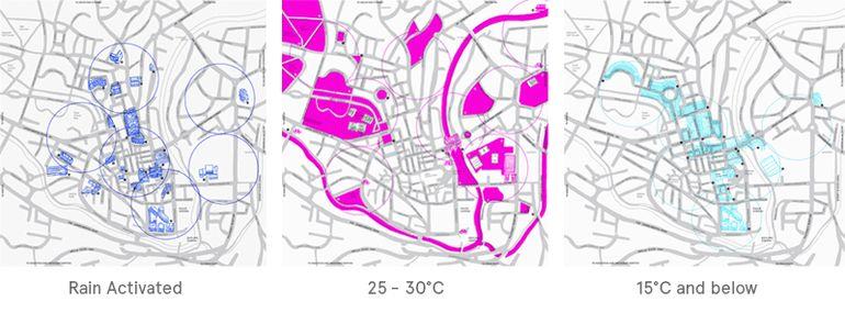 Przykład powyżej prezentuje miejsca zaproponowane przez mapę. Na różowo zaznaczono baseny.