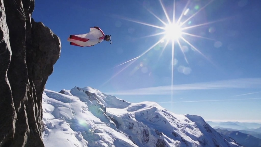 Wingsuit Flying winter snow