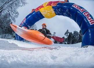 Ahti Reinup gets ready for a run in the Red Bull Snow Kayak in Tallinn, Estonia.