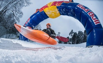 Ahti Reinup gets ready for a run in the Red Bull Snow Kayak in Tallinn, Estonia.