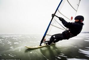 Ice windsurfing