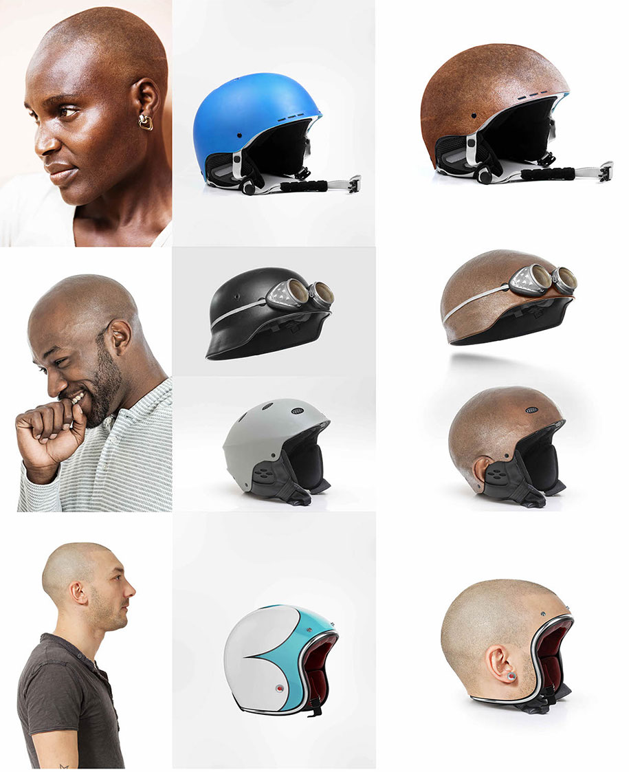 Jyo John mullor models a set of custom-made human head helmets