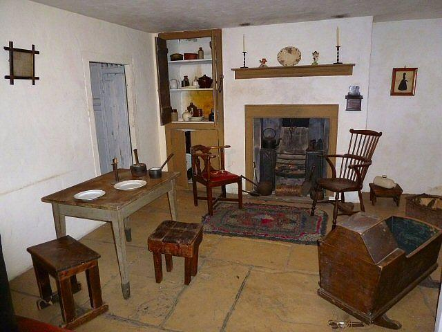 The recreated interior of a Styal Cottage, first built in 1806 which were of the two up and two down design, and housed large families.