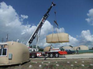 transportowanie betonowych namiotów