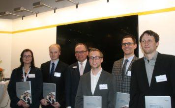 Caption: Chairman of the Walter Reiners-Stiftung (Foundation) and the award-winners (f.l.t.r.): Sennewald, Fischer, Dornier, Völkel, Neuwerk, Kempert.